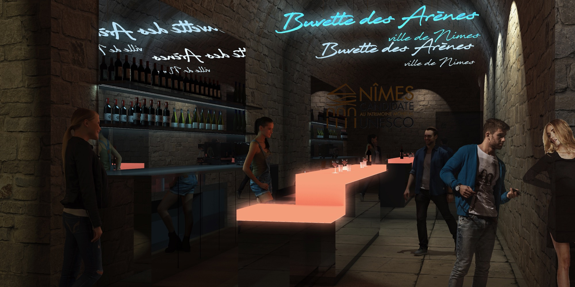 3D perspective bar arenes nimes 3